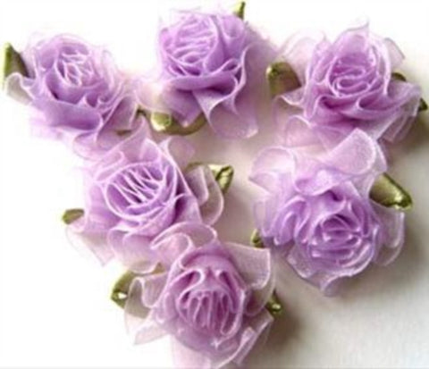 RB456 Lilac Sheer Ribbon Carnation Flower Bud Bow