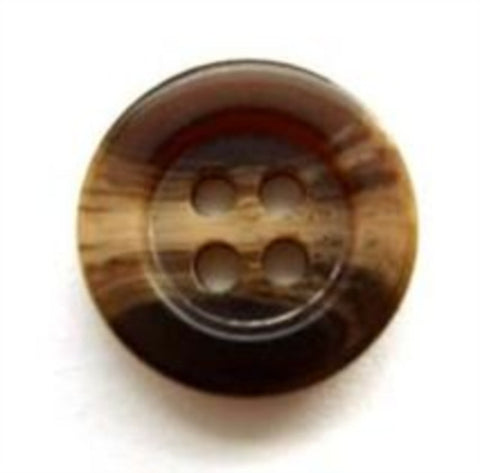 B5308 15mm Dark Brown and Beige Aaran 4 Hole Button - Ribbonmoon