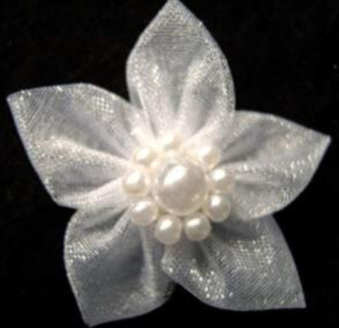 RB463 White Sheer Poinsettia Ribbon Bow with Pearl Beads