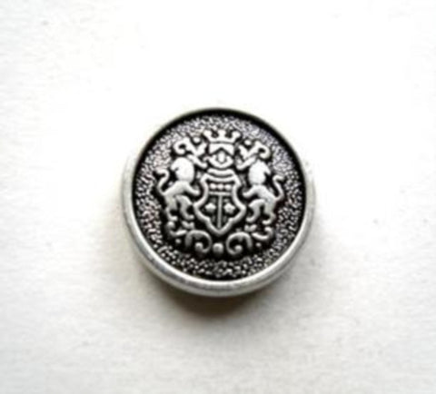 B11438 14mm Silver and Black Metal Alloy Shank Button, Coat of Arms - Ribbonmoon