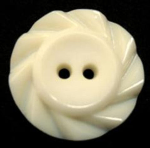 B15507 21mm Ivory Matt Centre 2 Hole Button with a Fluted Edge - Ribbonmoon