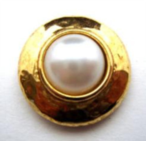 B14636 20mm Gilded Gold Poly and Pearl White Domed Shank Button - Ribbonmoon
