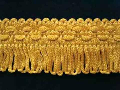 FT383 28mm Pale Dull Gold Looped Fringe on a Decorated Braid - Ribbonmoon