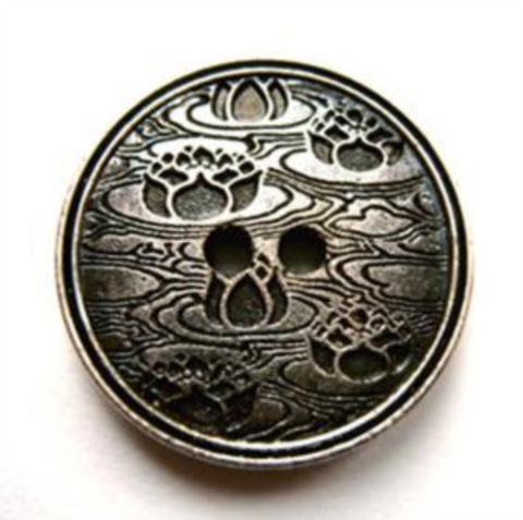 B17856 20mm Gilded Textured Gun Metal Coloured Poly 2 Hole Button - Ribbonmoon