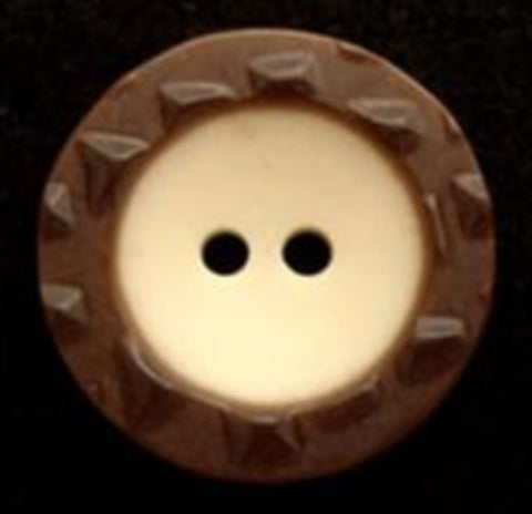B8158 20mm Brown and Cream Bone Sheen Textured Rim 2 Hole Button - Ribbonmoon