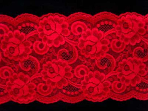 L051 145mm Geranium Red Flat Lace - Ribbonmoon