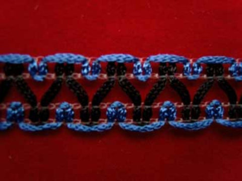 FT952 14mm Blue and Black Braid Trim