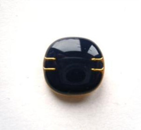 B9071 14mm Navy Gloss Faux Enamel Shank Button with a Gold Rim - Ribbonmoon