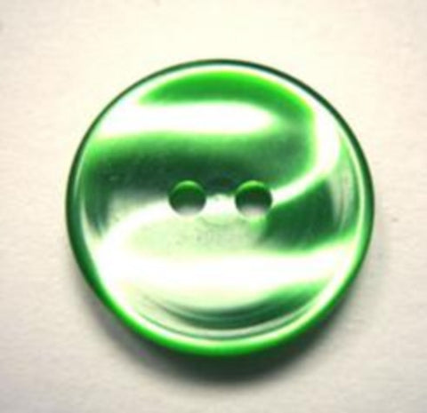B11236 18mm Emerald Green 2 Hole Button with a Vivid Tonal Shimmer - Ribbonmoon