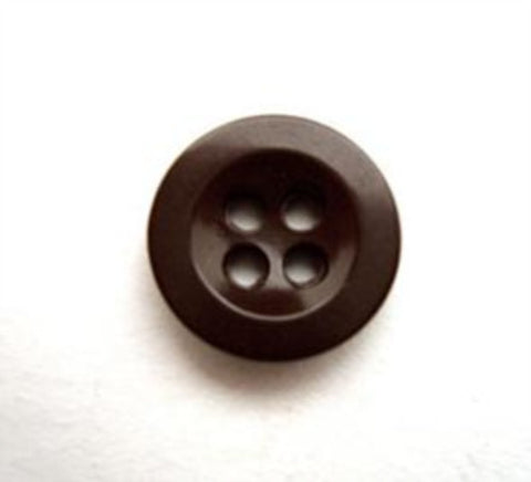 B12720 14mm Dark Brown Glossy 4 Hole Button - Ribbonmoon