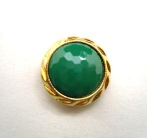 B14504 14mm Parakeet Green Honeycomb Shank Button, Gilded Gold Rim - Ribbonmoon
