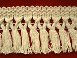 FT1989 75mm Natural Cream 100% Cotton Fringe on a Decorated Braid - Ribbonmoon