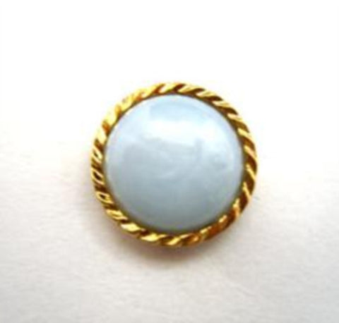 B14476 14mm Sky Blue Domed Shank Button, Gilded Gold Poly Rim - Ribbonmoon