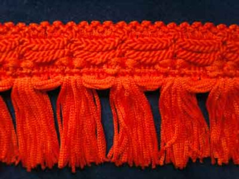 FT856 48mm Bright Deep Orange Tassel Fringe on a Decorated Braid - Ribbonmoon