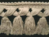 FT802 12cm Pale Natural Grey Thick Tassel Fringe on a Decorated Braid - Ribbonmoon