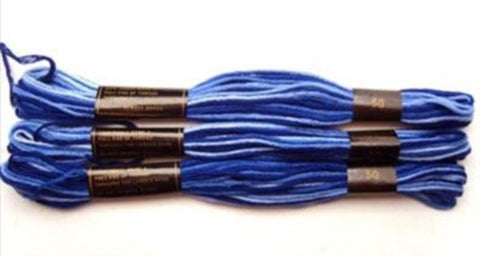 S050 8 Metre Skein Varigated Blues Cotton Embroidery Thread, 6 Strand Colourfast