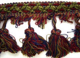 FT075 85mm Green,Wine,Burgundy and Navy Tassel Fringe on a Decorated Braid - Ribbonmoon