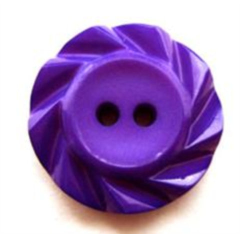 B15298 21mm Purple Matt Centre 2 Hole Button with a Fluted Edge - Ribbonmoon