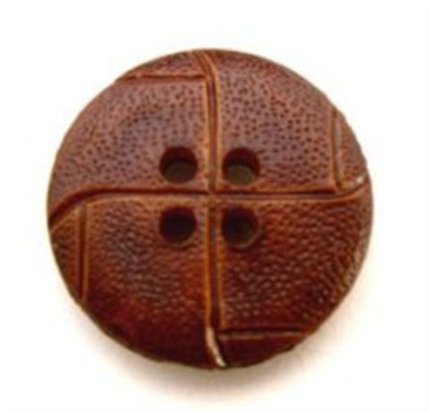 B10812 20mm Chestnut Brown Leather Effect 4 Hole Button - Ribbonmoon