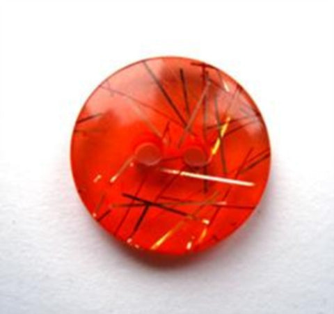 B17901 17mm Deep Orange Translucent 2 Hole Button with Gold Tinsel - Ribbonmoon