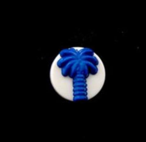 B13785 12mm Matt Royal Blue Palm Tree Design Novelty Shank Button - Ribbonmoon