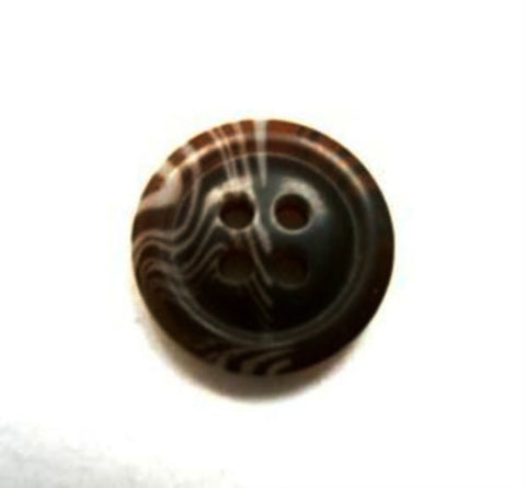 B16592 15mm Dark Brown and Beige Bone Sheen 4 Hole Button - Ribbonmoon