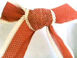 R1718 66mm Russet Polka Dot Cotton Ribbon with Cream Linen Lace Edges - Ribbonmoon