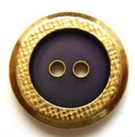 B7678 19mm Dark Aubergine Slate Sheen 2 Hole Button, Gold Metal Rim - Ribbonmoon