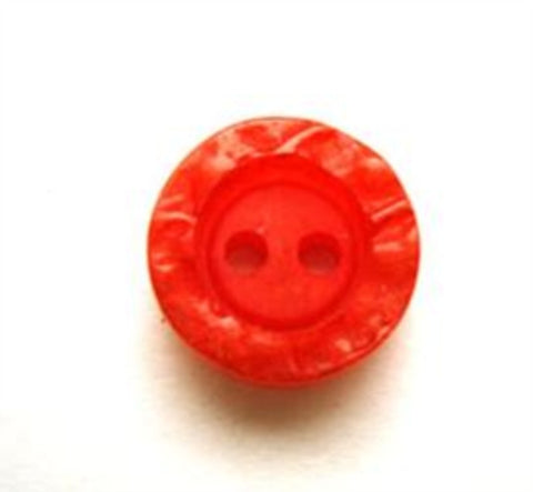 B14043 15mm Flame Orange Chunky 2 Hole Button, Textured Rim - Ribbonmoon