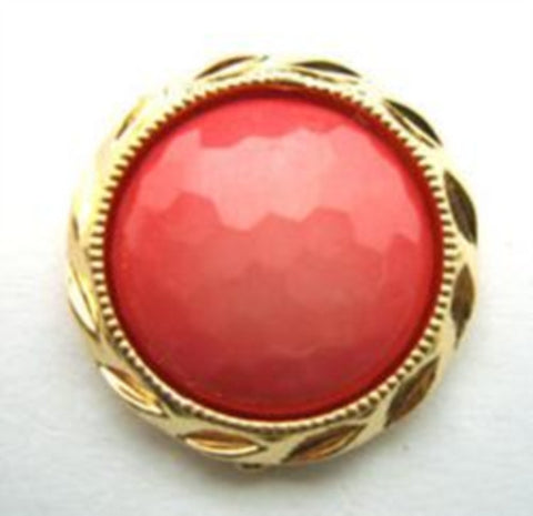 B14786 20mm Coral Pink Honeycomb Shank Button, Gilded Gold Poly Rim - Ribbonmoon