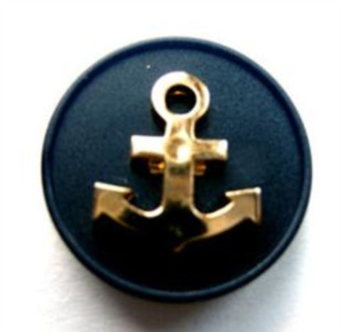 B17851 20mm Navy and Gilded Gold Poly Anchor Design Shank Button - Ribbonmoon