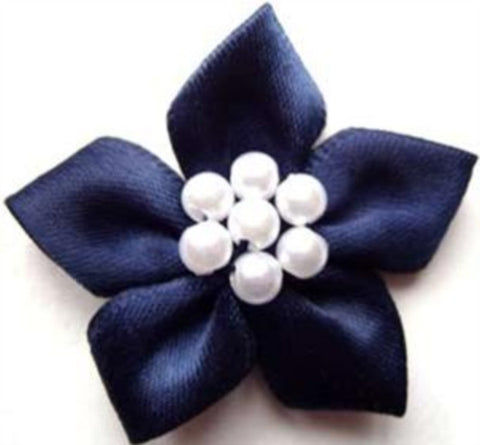 RB337 Navy Satin 5 Petal Poinsettia with Pearl Beads - Ribbonmoon