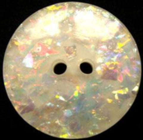 B15622 28mm Hologram Glitter under a Clear Surface 2 Hole Button - Ribbonmoon