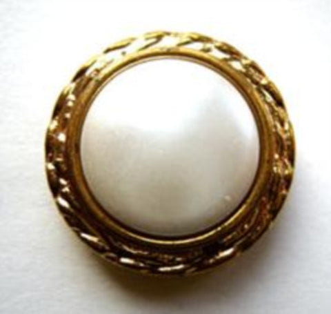B12051 12mm Shank Button Gilded Coppery Gold Poly Rim,Pearl White Centre - Ribbonmoon