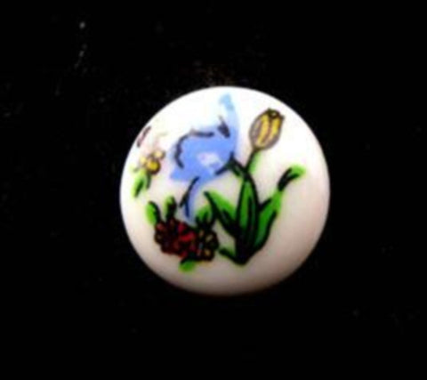 B15140 14mm Flowery Design Childrens Shank Picture Button - Ribbonmoon
