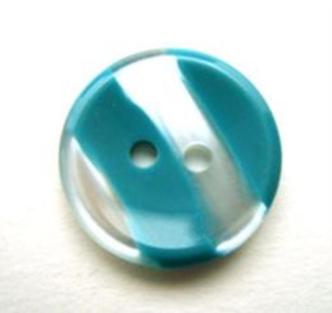 B11511 18mm Turquoise and Pearl Variegated Polyester 2 Hole Button - Ribbonmoon