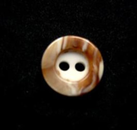 B10241 11mm Brown and White Marble Effect 2 Hole Button - Ribbonmoon