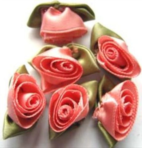 RB297 32mm Coral Pink Satin Ribbon Rose - Ribbonmoon