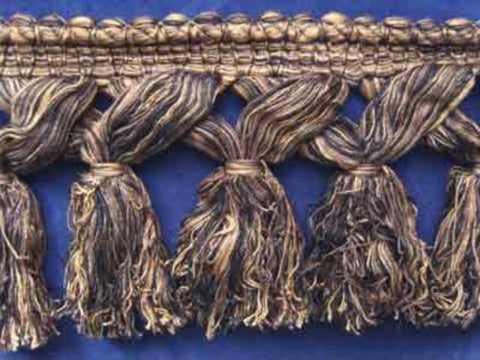 FT408 125mm Black, Beige and Brown Thick, Soft Tassel Fringe - Ribbonmoon