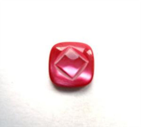 B12446 9mm Tonal Cardinal Red and Pink Pearlised Shank Button - Ribbonmoon
