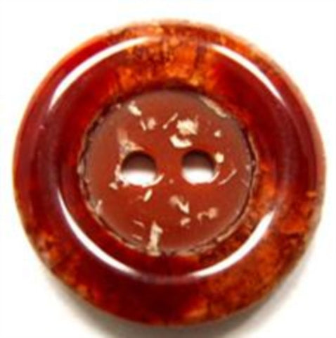 B15875 22mm Tonal Rust Browns Gloss Rim 2 Hole Button - Ribbonmoon