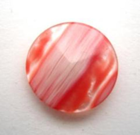 B16417 18mm Frosted Salsa Red Semi Pearlised Shank Button - Ribbonmoon