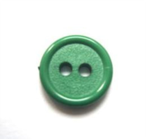 B11131 14mm Parakeet Green Matt Centre 2 Hole Button - Ribbonmoon
