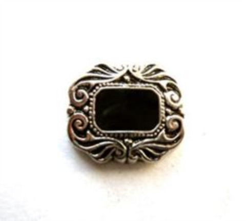 B8136 14mm Antique Silver Gilded Poly Shank Button, Onyx Effect Centre - Ribbonmoon