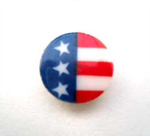 B15094 13mm Red, White and Blue Glossy Shank Button - Ribbonmoon