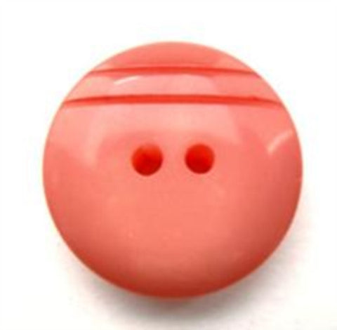 B13628 20mm Coral High Gloss 2 Hole Button - Ribbonmoon