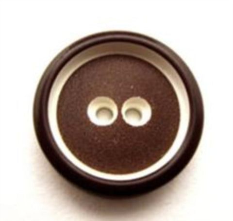 B13559 19mm Brown and White Chunky 2 Hole Button - Ribbonmoon