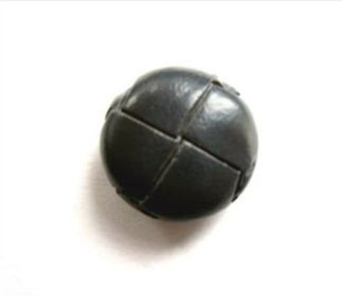 "B12825 15mm Smoked Grey Leather Effect ""Football"" Shank Button - Ribbonmoon"