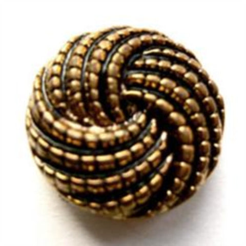 B12133 20mm Antique Coppery Gold Gilded Poly Textured Shank Button - Ribbonmoon