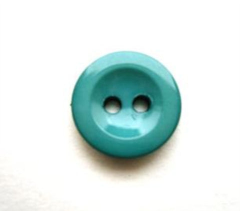 B13419 14mm Turquoise Gloss 2 Hole Button - Ribbonmoon